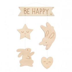 Mobile en bois - Be Happy