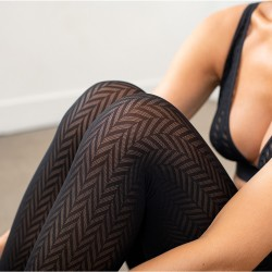 Chevron pattern tights -...