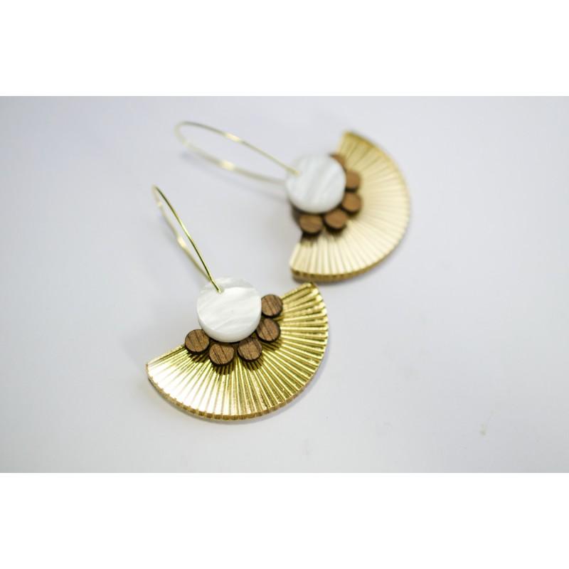 Earrings Plexiglas-wood / white