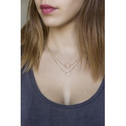 Round asymmetrical necklace - plated gold