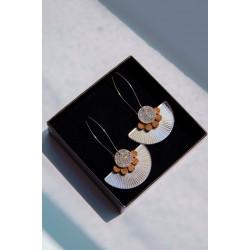 Earrings silver plexiglas -...