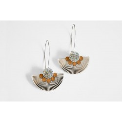 Earrings silver plexiglas -...