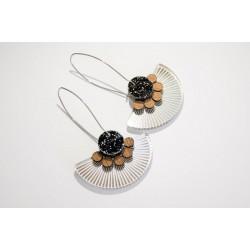 Silver earrings - black...