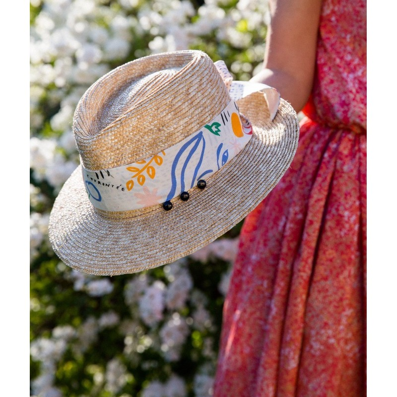 Celine straw hat and scarf Flora