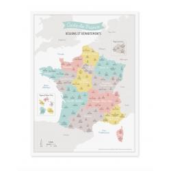 Affiche carte de France -...