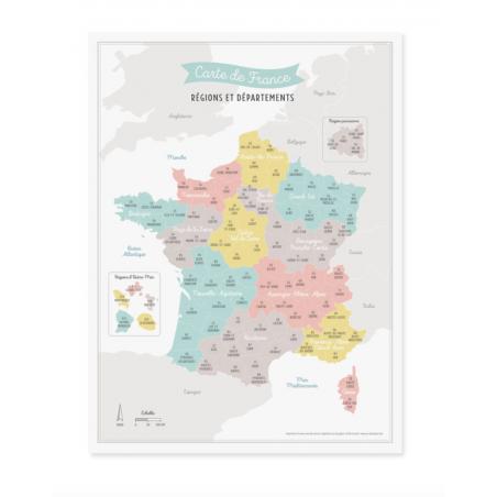 Affiche Carte De France Nouvelles Regions