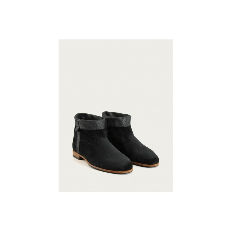 Gardiane Boot - Soft black / black glitter leather