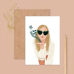 """Postcard """"Bisou"""" (kiss)"""