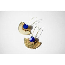 Earrings Plexiglas-wood / blue