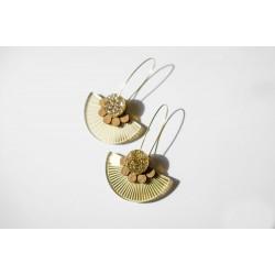 Earrings Plexiglas-wood -...